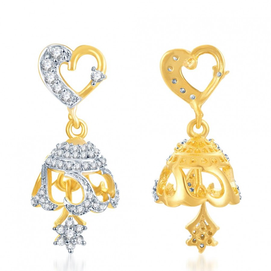 Buy Pissara Attractive Gold and Rhodium Plated CZ Jhumki Online
