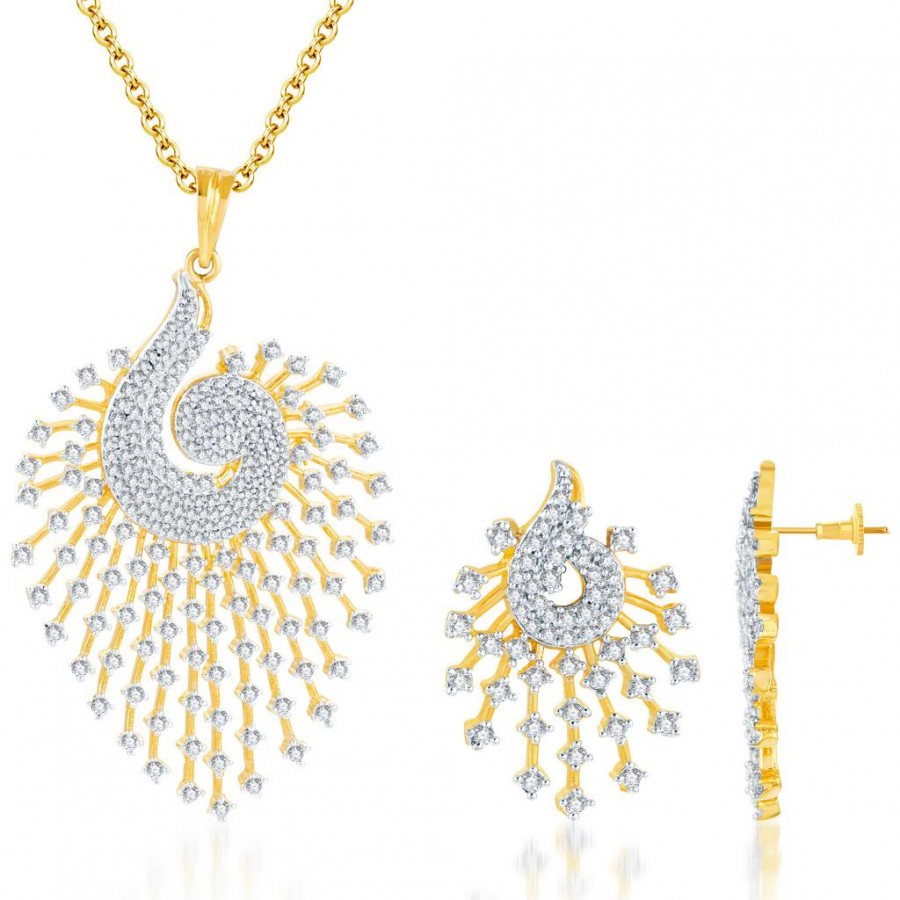 Buy Pissara Indian Peacock CZ Gold and Rodium plated Pendant Set Online