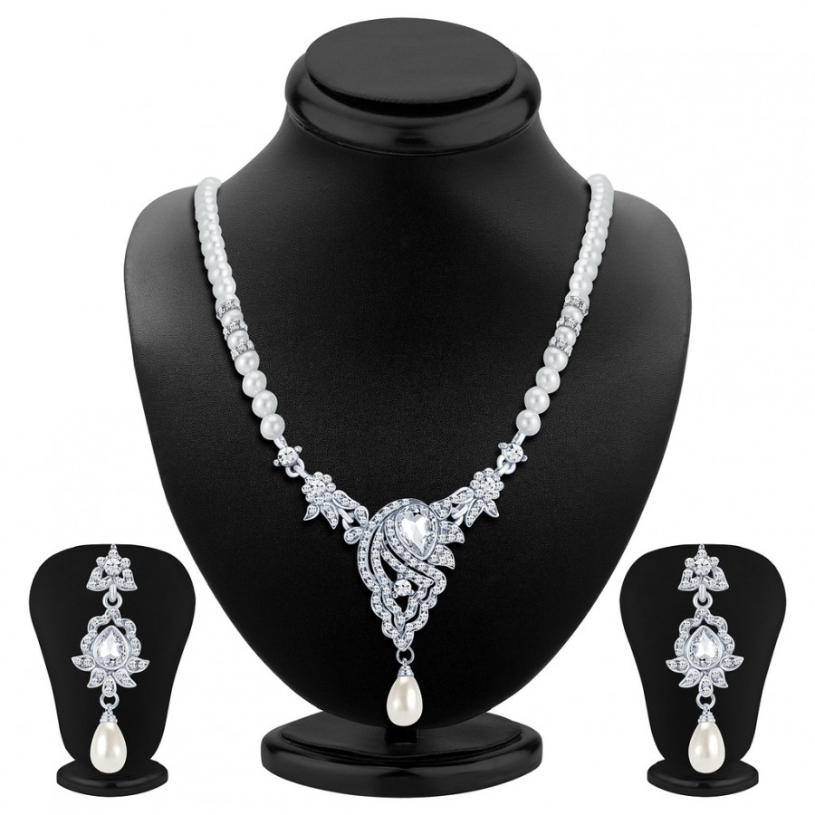 Buy Sukkhi Fascinating Rhodium Plated AD Necklace Set Online