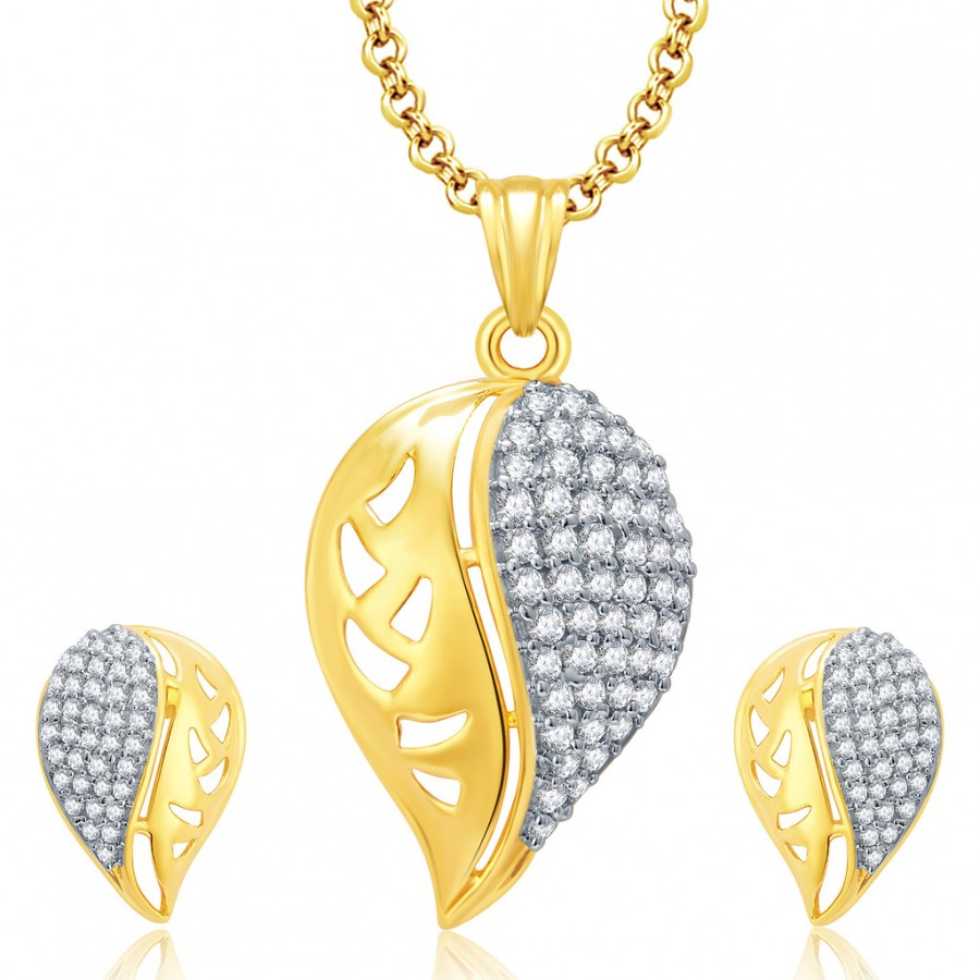 Buy Pissara Fashionable Gold And Rhodium Plated CZ Pendant Set For Women Online