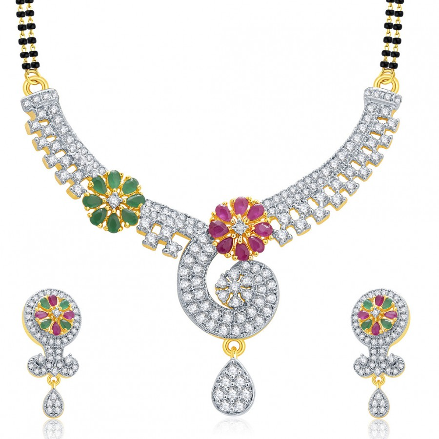 Buy Pissara Poignant Gold And Rhodium Plated Ruby CZ Mangalasutra Set For Women Online