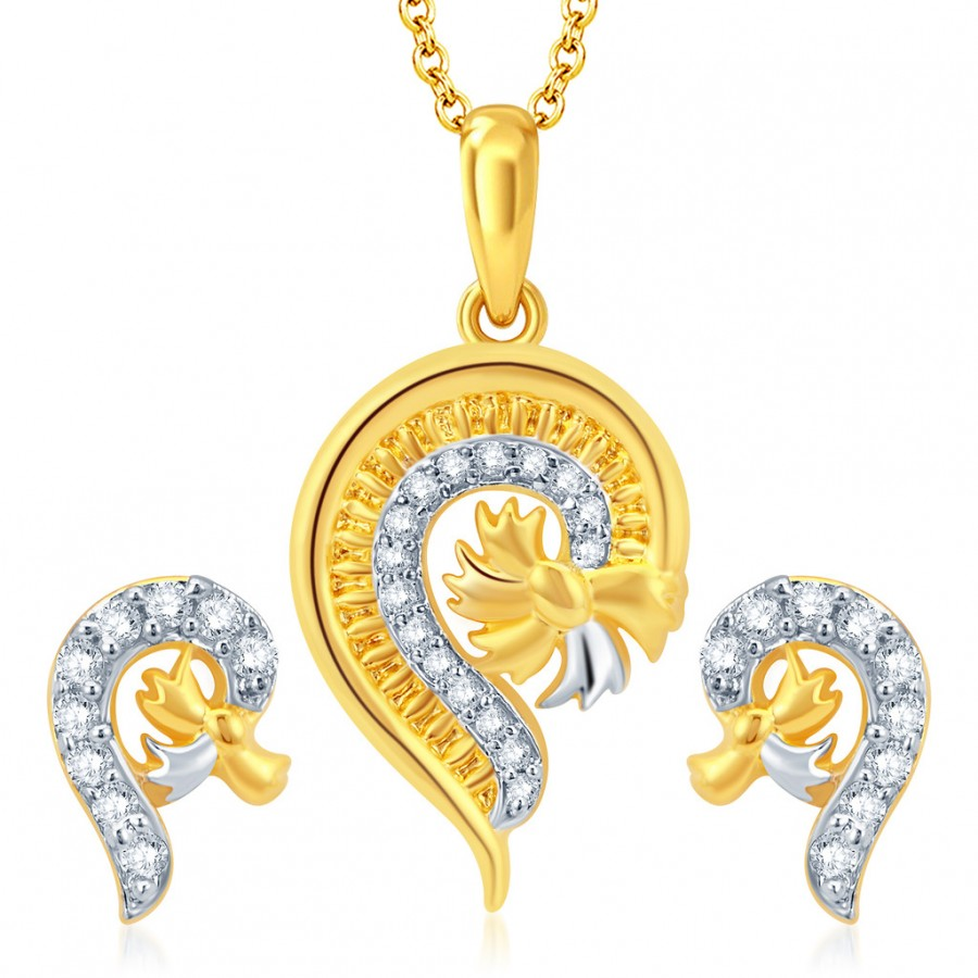 Buy Pissara Glistening Gold and Rhodium Plated CZ Pendant Set Online