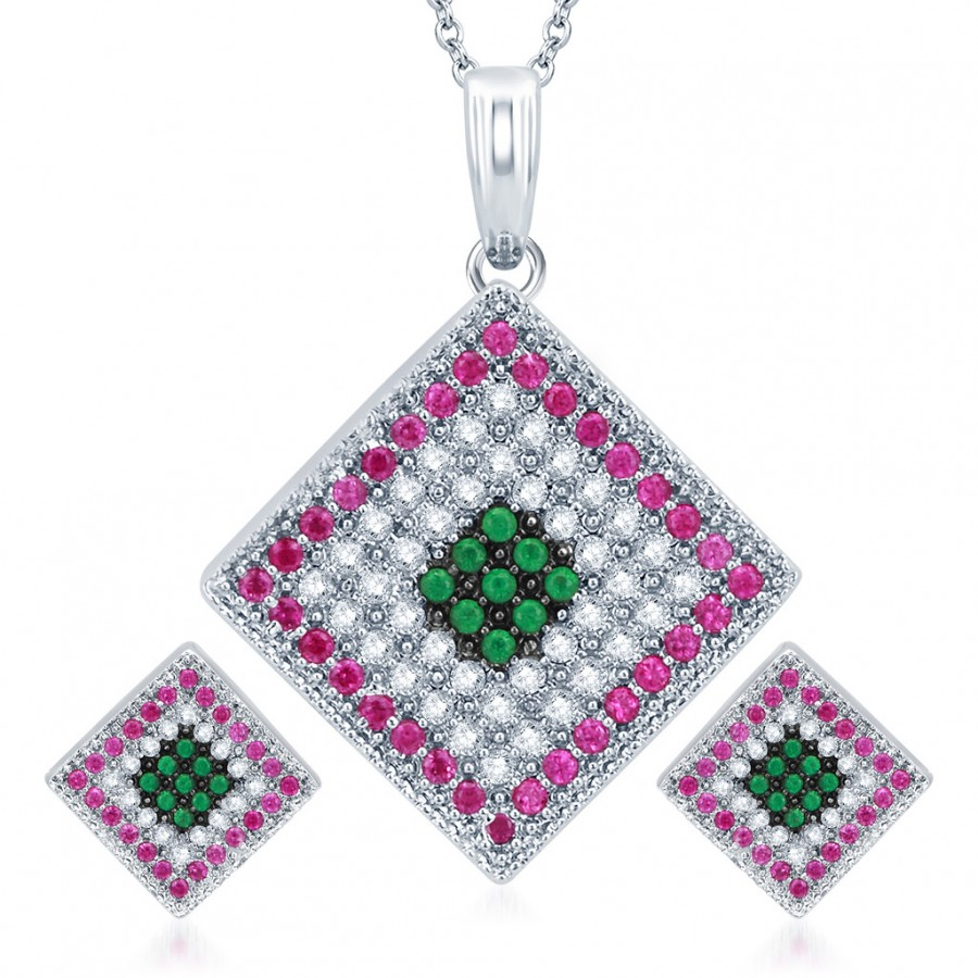 Buy Pissara Charming Rhodium Plated Emerald Ruby CZ Micro Pave Pendant Set Online
