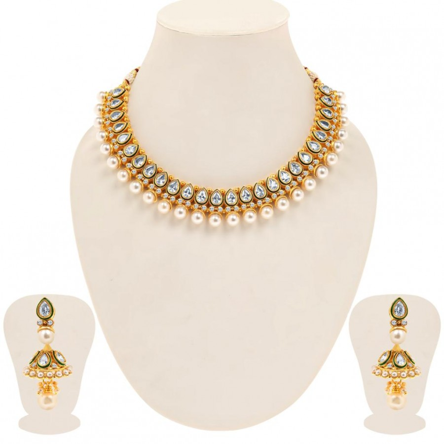 Buy Sukkhi Eye-Catchy Gold Plated Tilak Shaped AD Solitaire Necklace Set for Women Online