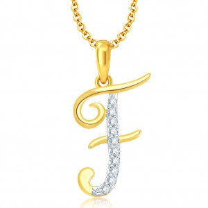 "Buy Pissara Letter"" F"" Gold and Rhodium Plated CZ Alphabet Pendant Online"