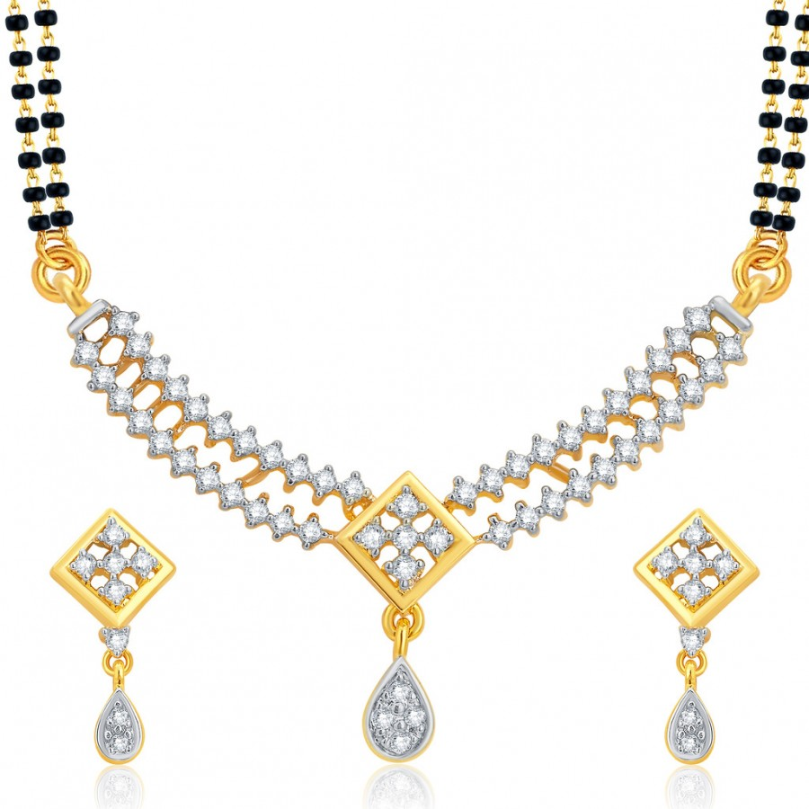 Buy Pissara Shimmering Gold and Rhodium Plated CZ Mangalsutra Set For Women Online