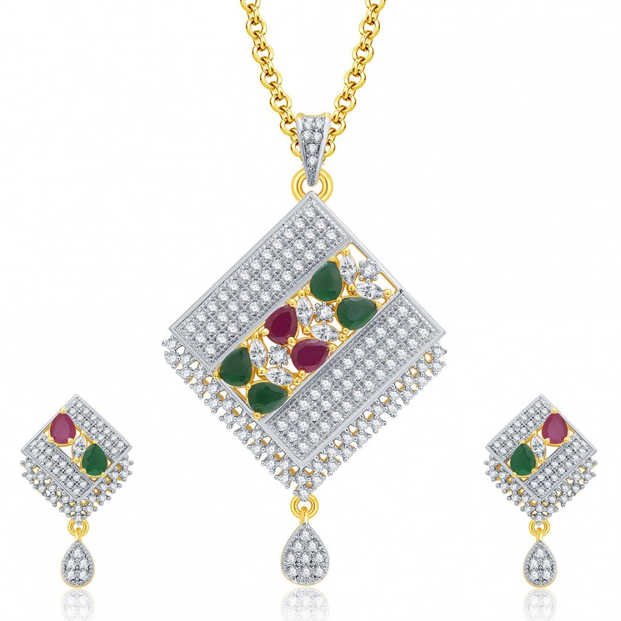 Buy Pissara Grandiose Gold And Rhodium Plated Ruby CZ Pendant Set For Women Online