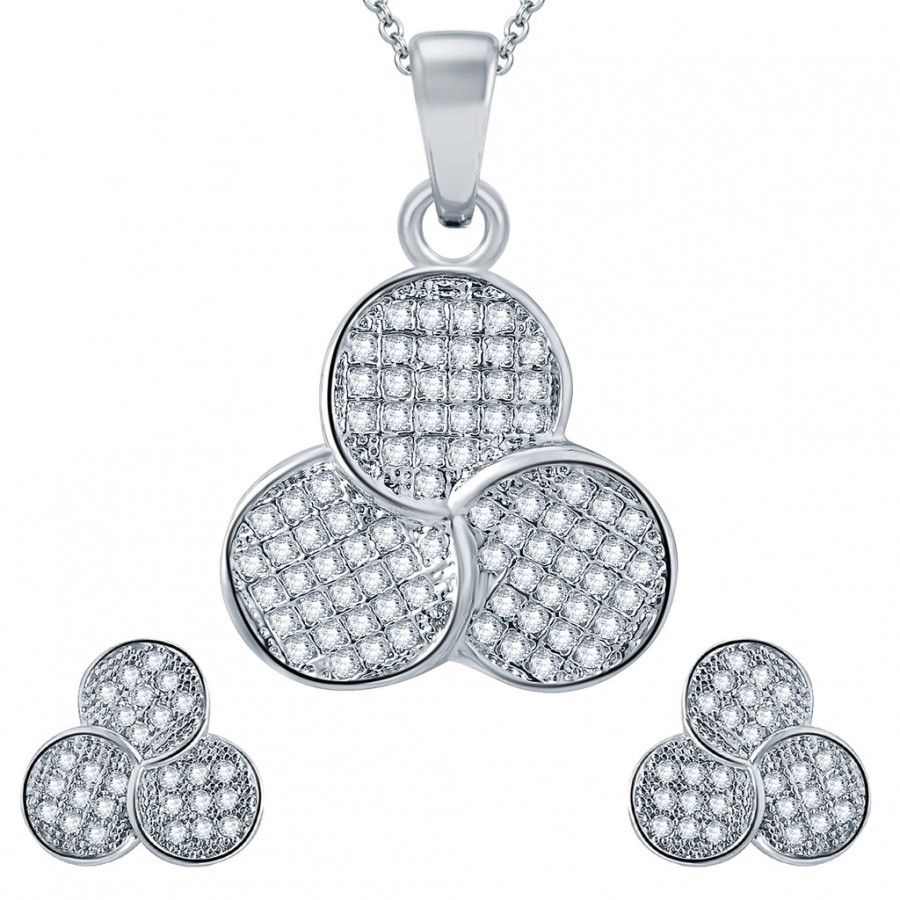Buy Pissara Fascinating Rhodium plated Micro Pave Setting CZ Pendant Set Online