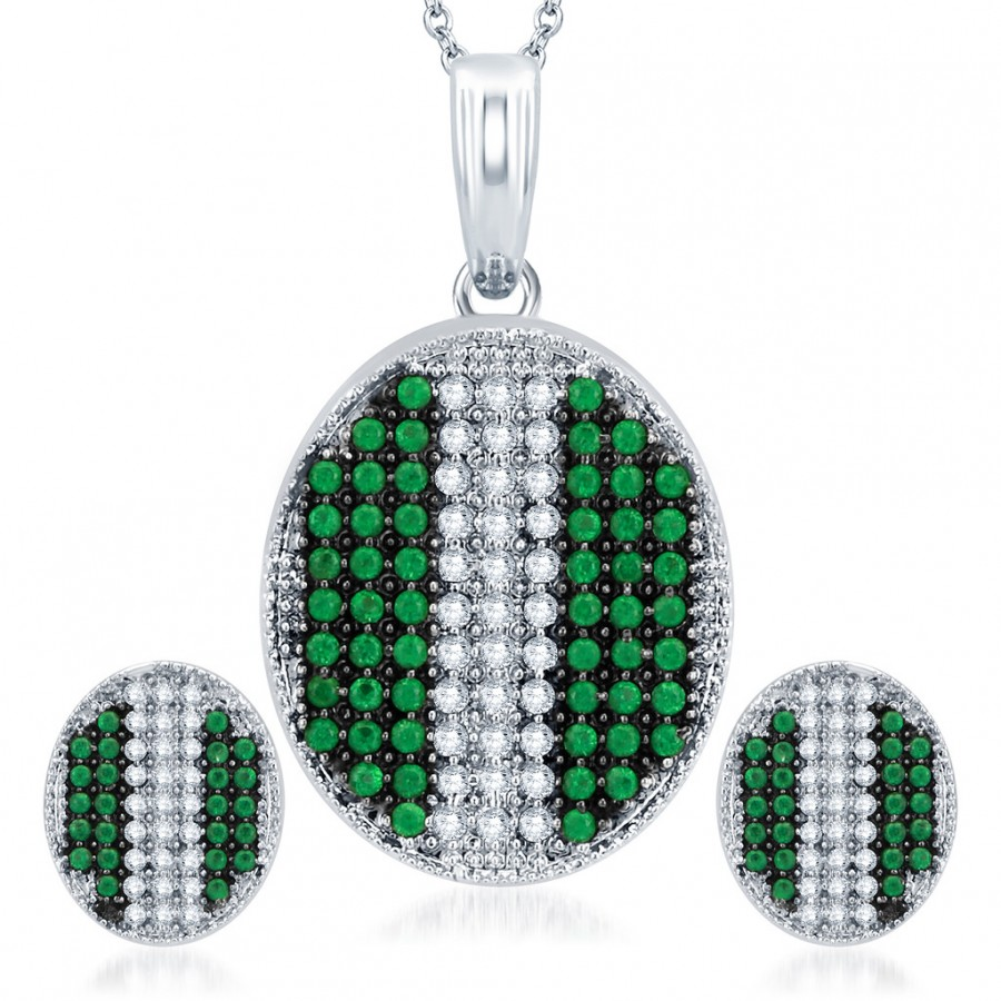 Buy Pissara Enchanting Rhodium Plated Emerald CZ Micro Pave Pendant Set Online