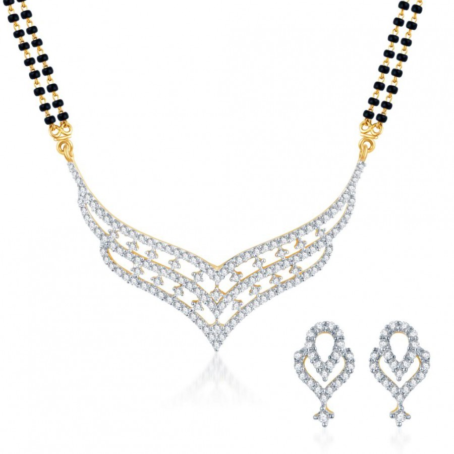 Buy Pissara Beguiling CZ Gold and Rhodium Plated Mangalsutra Set Online