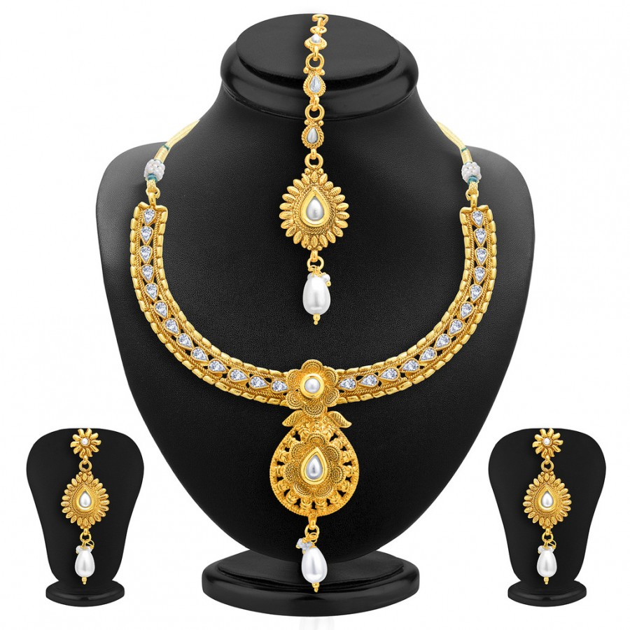 Buy Sukkhi Marquise Gold Plated AD Necklace Set For Women Online
