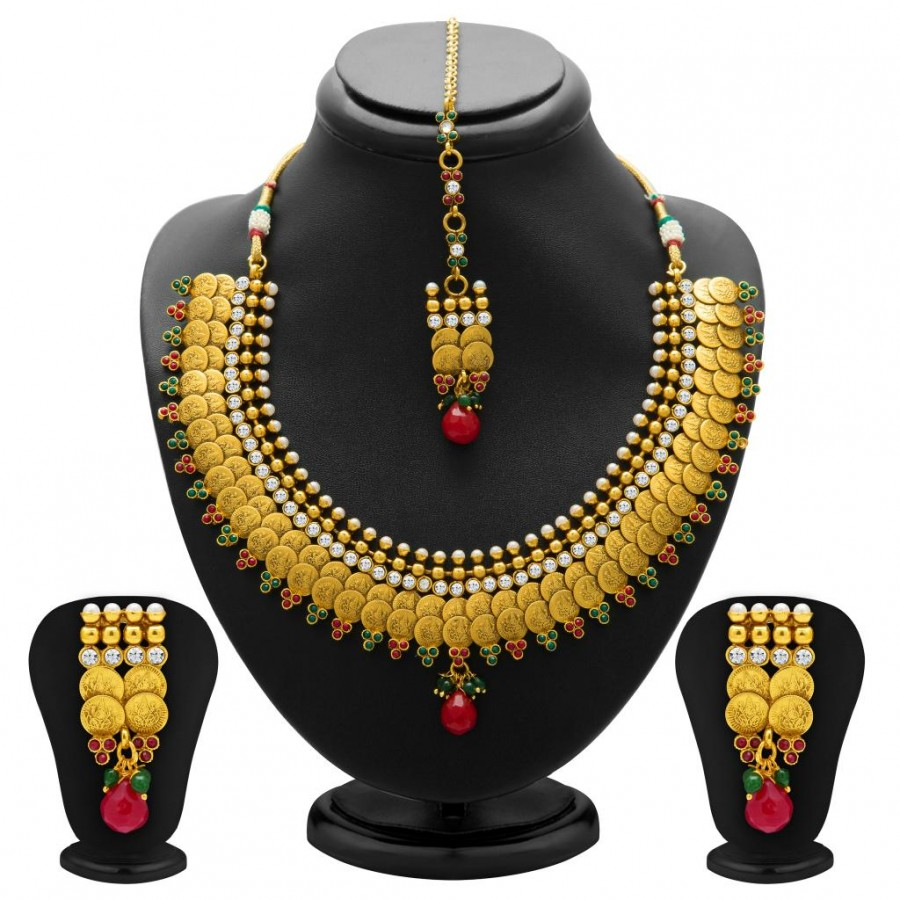 Buy Sukkhi Stylish Gold Plated Temple Jewellery Coin Necklace Set for Women Online