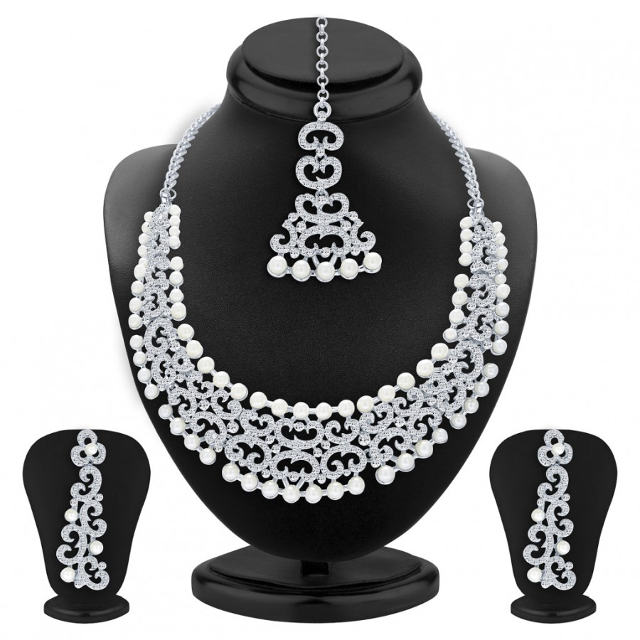 Buy Sukkhi Finely Rhodium Plated AD Necklace Set For Women Online