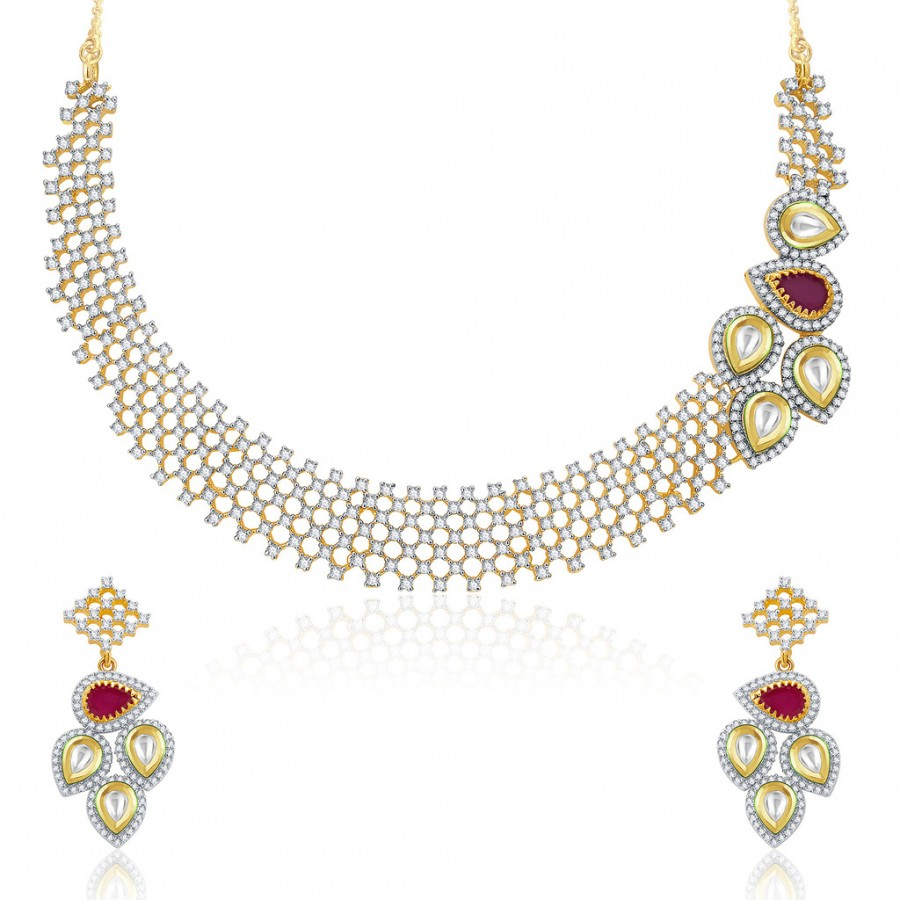 Buy Pissara Engross Gold And Rhodium Plated Ruby CZ Kundan Neklace Set For Women Online