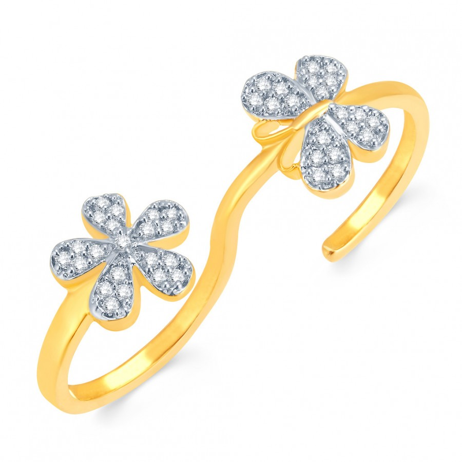 Buy Pissara Astonishing Gold and Rhodium Plated CZ Ring Online