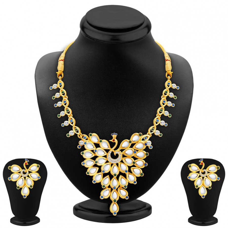 Buy Sukkhi Ethnic Peacock Gold Plated AD Necklace Set For Women Online