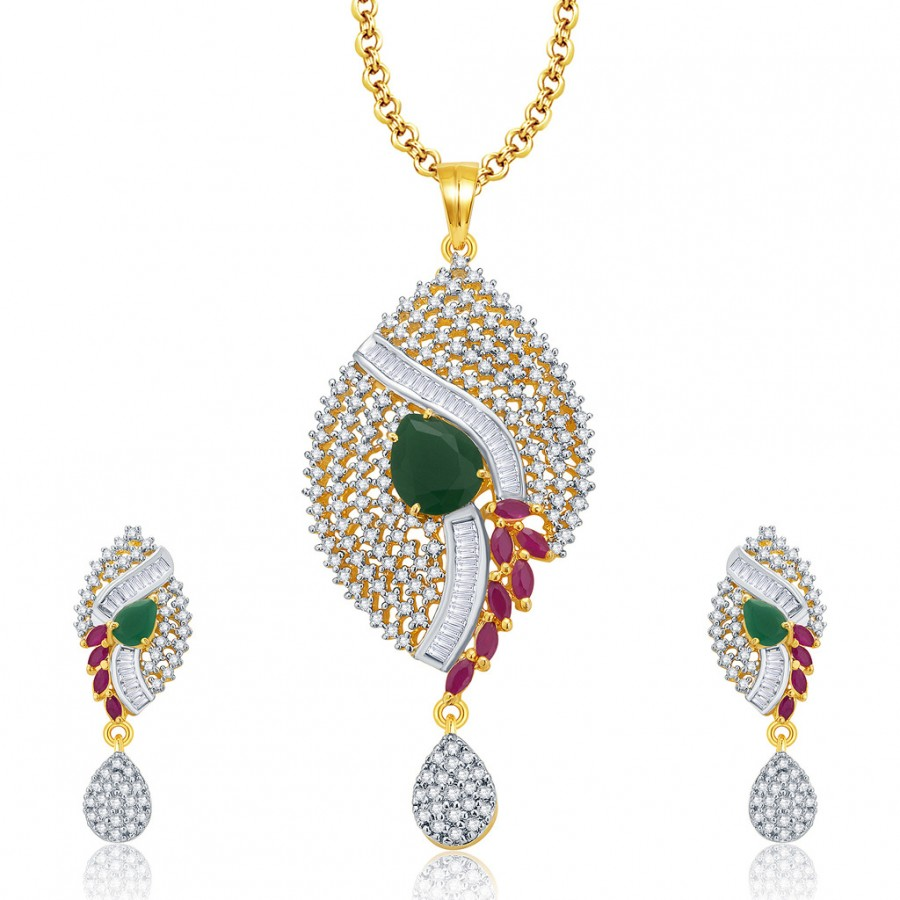 Buy Pissara Excellent Gold And Rhodium Plated Ruby CZ Pendant Set For Women Online