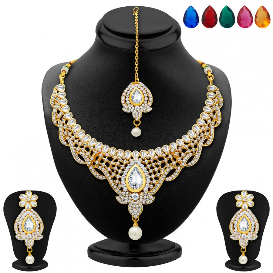 Buy Sukkhi Divine Gold Plated AD Necklace Set with Set of 5 Changeable Stone Online
