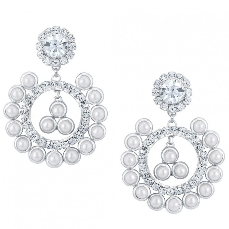 Buy Sukkhi Attractive Rhodium plated Earrings With AD and White Pearls Online