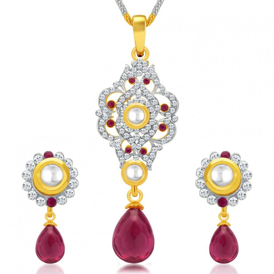 Buy Sukkhi Exotic Gold and Rhodium Plated AD Kundan Pendant Set for Women Online