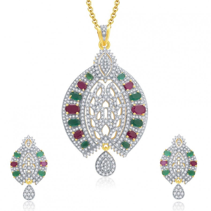Buy Pissara Royal Gold And Rhodium Plated Ruby CZ Pendant Set For Women Online