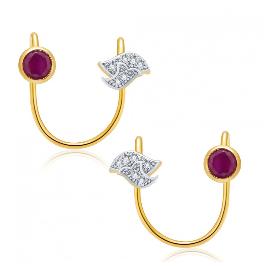 Buy Pissara Sparkling Gold And Rhodium Plated Ruby CZ Earcuff For Women Online
