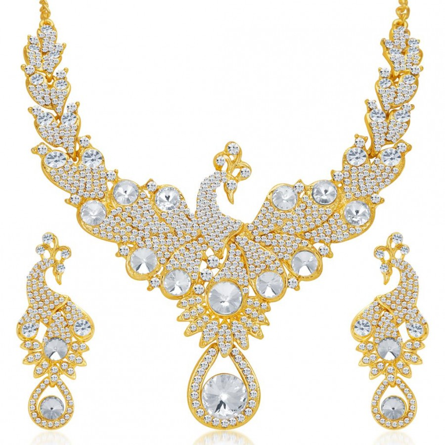 Buy Sukkhi Exotic Peacock Gold Plated AD Necklace Set for Women Online