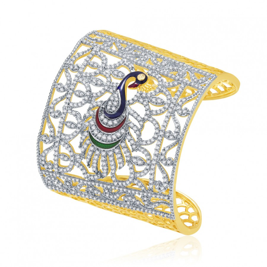 Buy Pissara Pride Peacock Gold And Rhodium Plated CZ Kada For Women Online