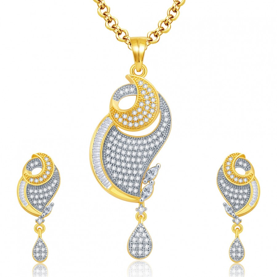 Buy Pissara Beguiling Gold And Rhodium Plated CZ Pendant Set For Women Online