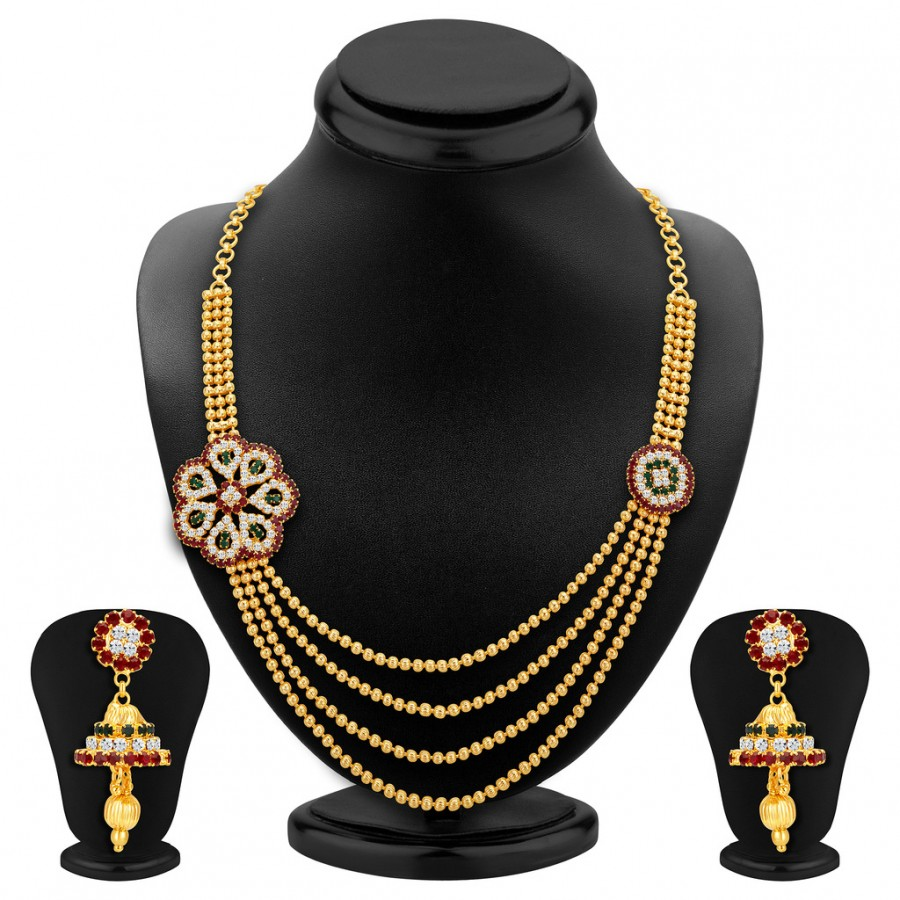 Buy Sukkhi Glimmery Four Strings Gold Plated Necklace Set Online