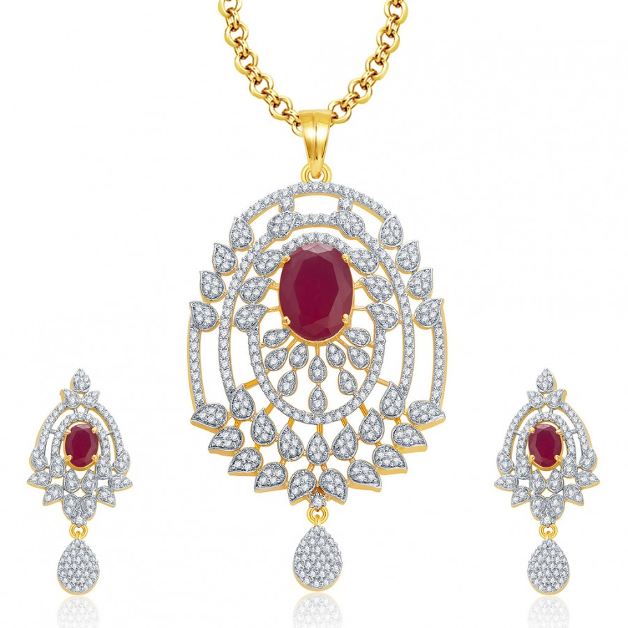 Buy Pissara Glitzy Gold And Rhodium Plated Ruby CZ Pendant Set For Women Online