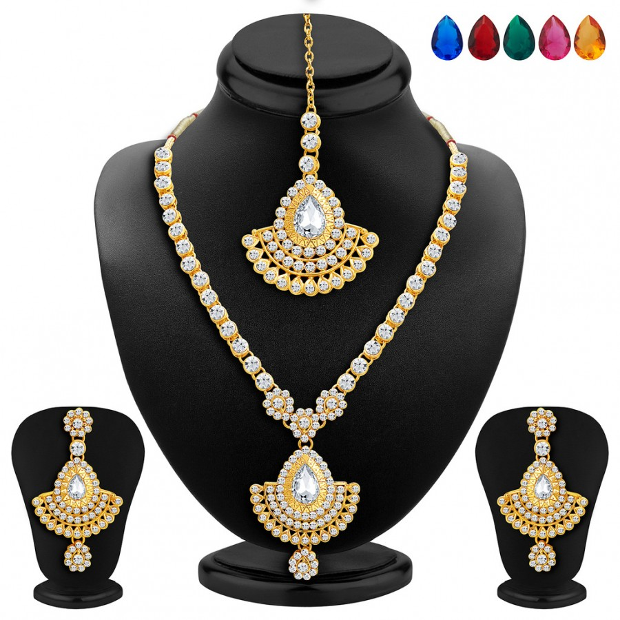Buy Sukkhi Glorious Gold Plated AD Necklace Set with Set of 5 Changeable Stone Online