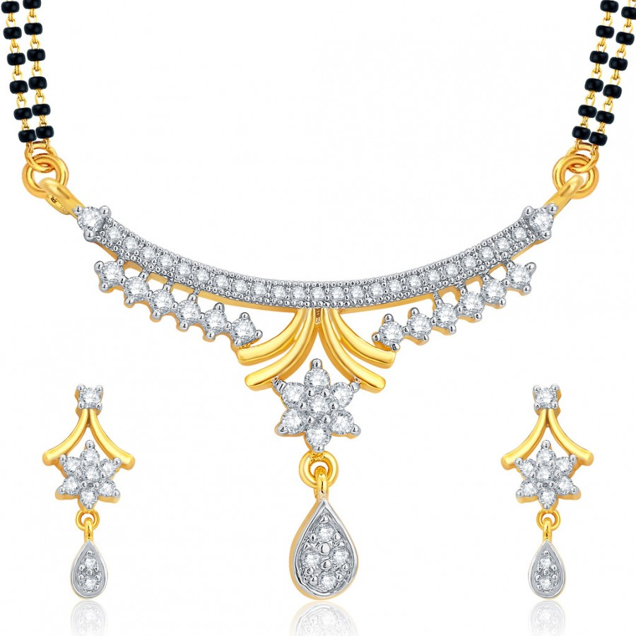 Buy Pissara Beguiling Gold and Rhodium Plated CZ Mangalsutra Set For Women Online