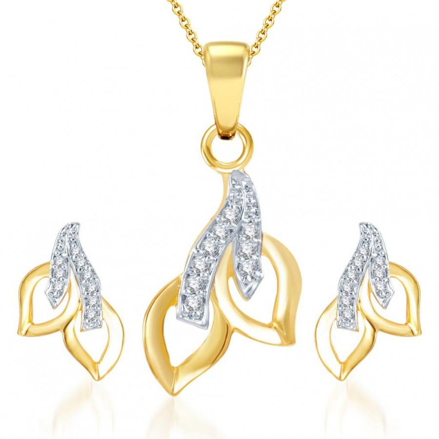 Buy Pissara Glimmery Gold and Rhodium Plated CZ Pendant Set Online