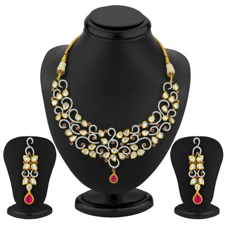 Buy Pissara Marvellous Gold Plated Kundan and CZ Fusion Jewellery Set Online