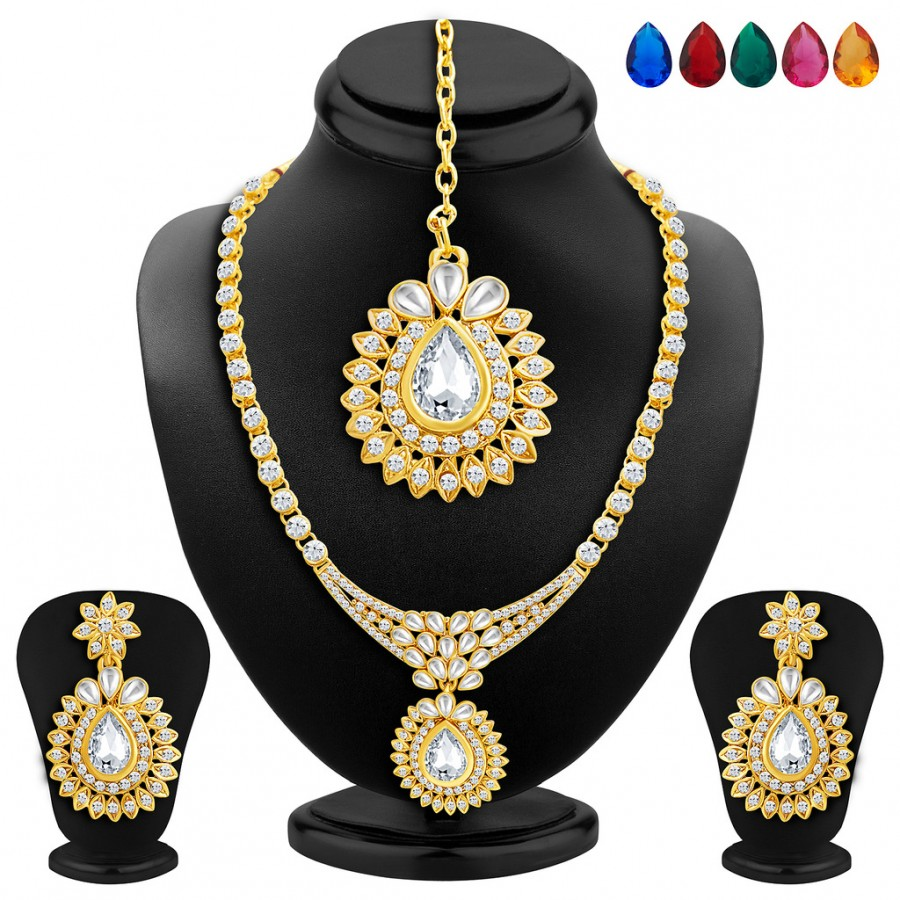 Buy Sukkhi Beguiling Gold Plated AD Necklace Set with Set of 5 Changeable Stone Online