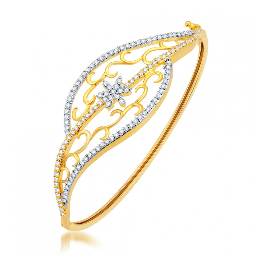 Buy Pissara Sublime Gold and Rhodium Plated CZ Kada Online