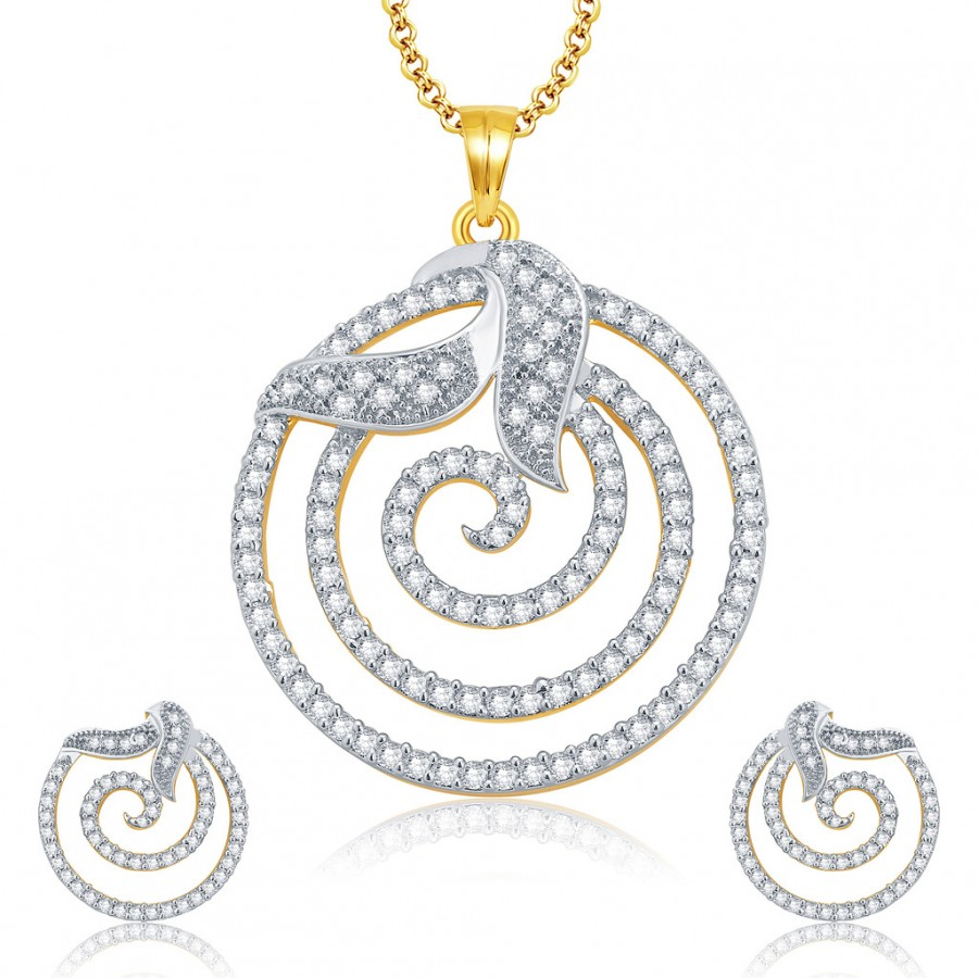 Buy Pissara Fine Gold And Rhodium Plated CZ Pendant Set For Women Online