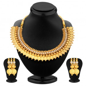 Buy Pissara Astonish Gold Plated Temple Jewellery Coin Necklace Set For Women Online