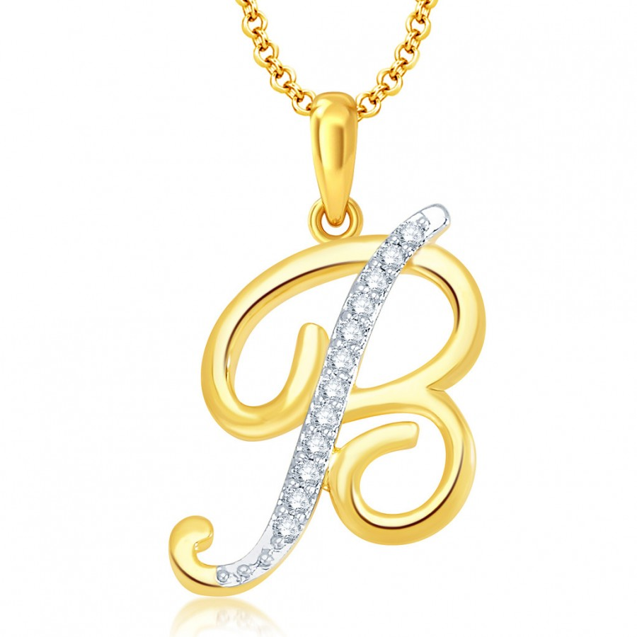 "Buy Pissara Letter"" B"" Gold and Rhodium Plated CZ Alphabet Pendant Online"