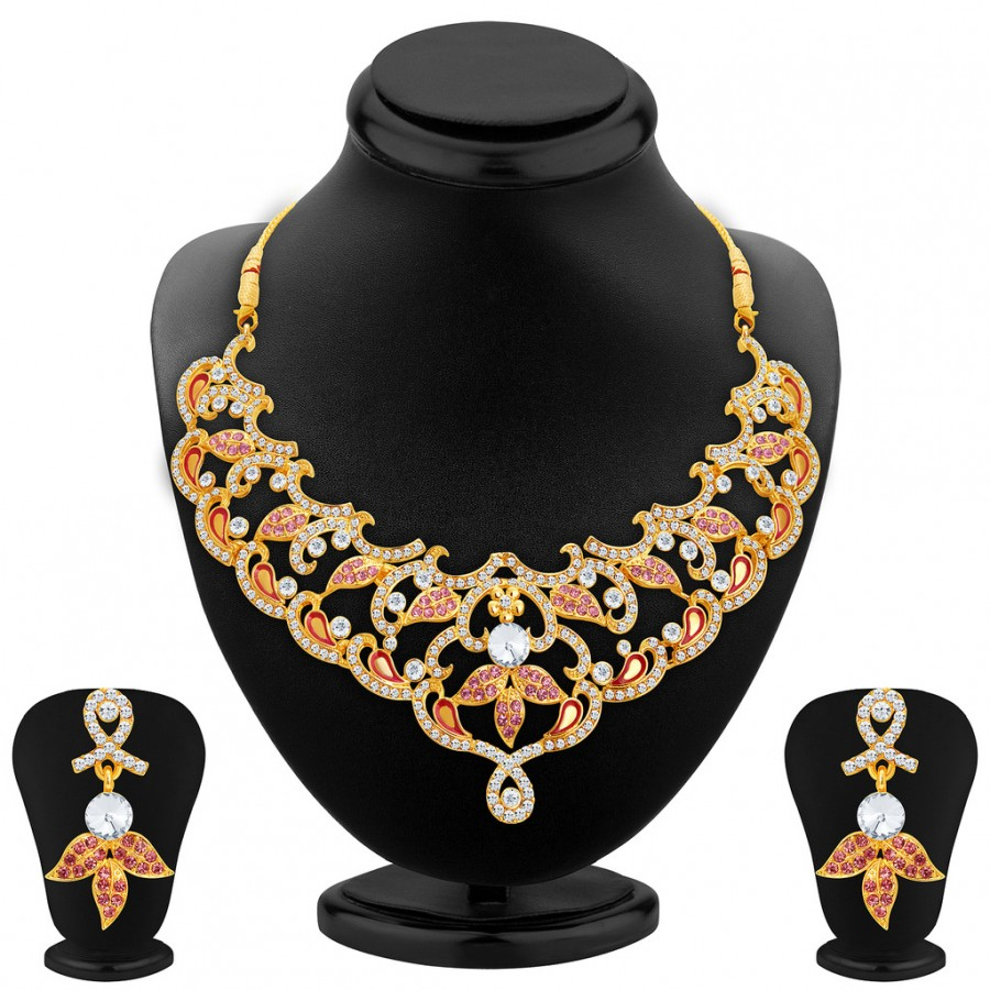 Buy Sukkhi Enchanting Gold Plated AD Necklace Set For Women Online