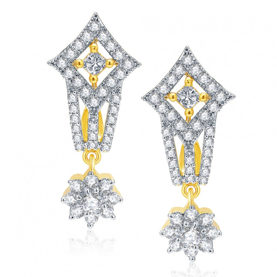 Buy Pissara Vintage Gold And Rhodium Plated CZ Earrings For Women Online