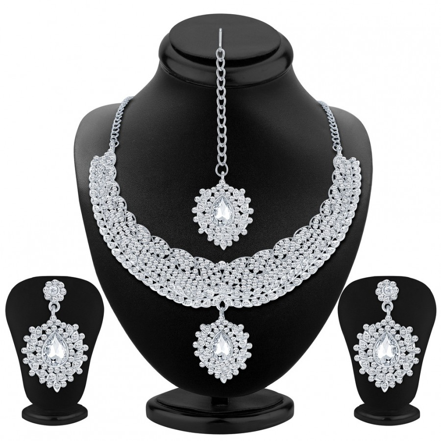 Buy Sukkhi Finely Rhodium Plated AD Necklace Set Online