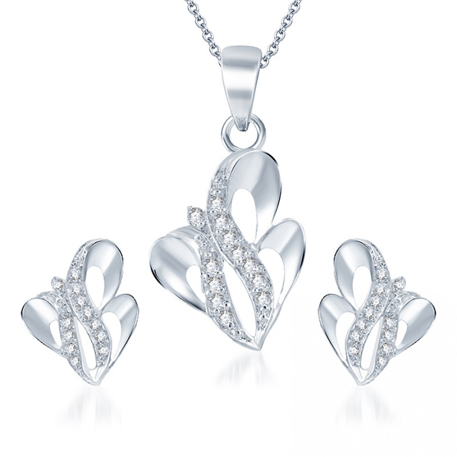 Buy Pissara Gleaming Rodium plated CZ Pendant Set Online