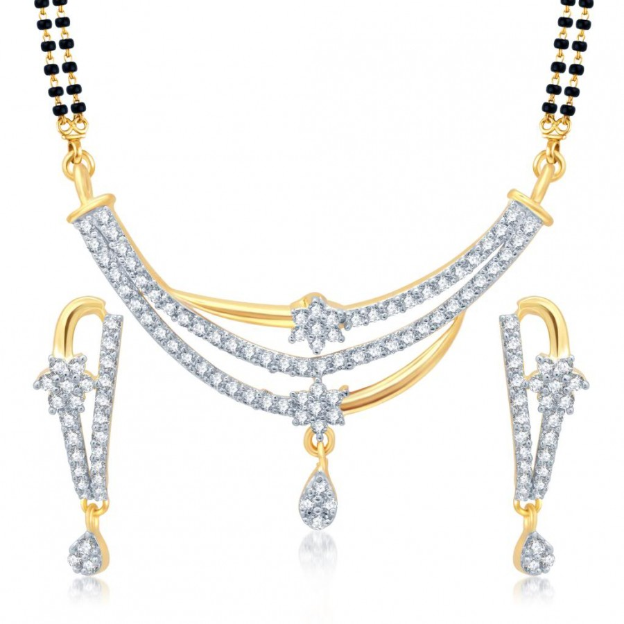 Buy Pissara Delightful Gold and Rhodium Plated Cubic Zirconia Stone Studded Mangalsutra Set Online