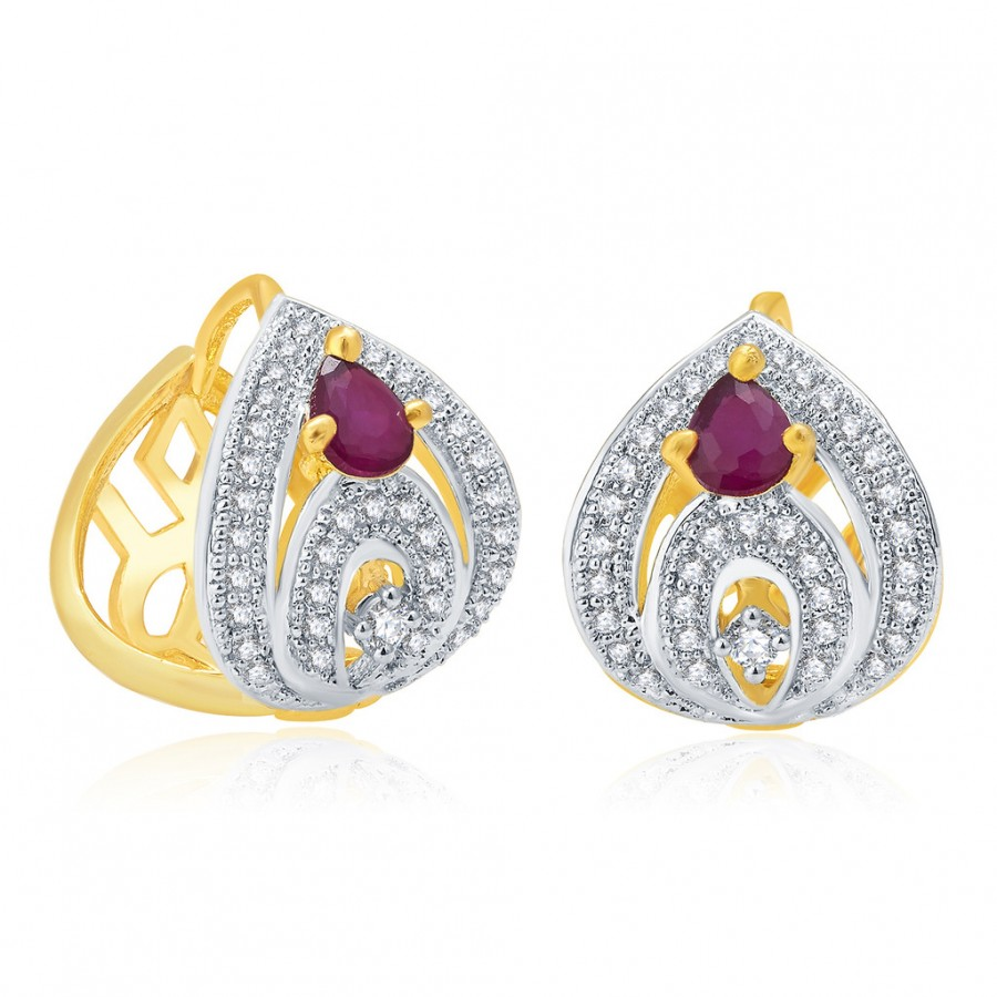Buy Pissara Winsome Gold And Rhodium Plated Ruby CZ Hoop Earrings For Women Online