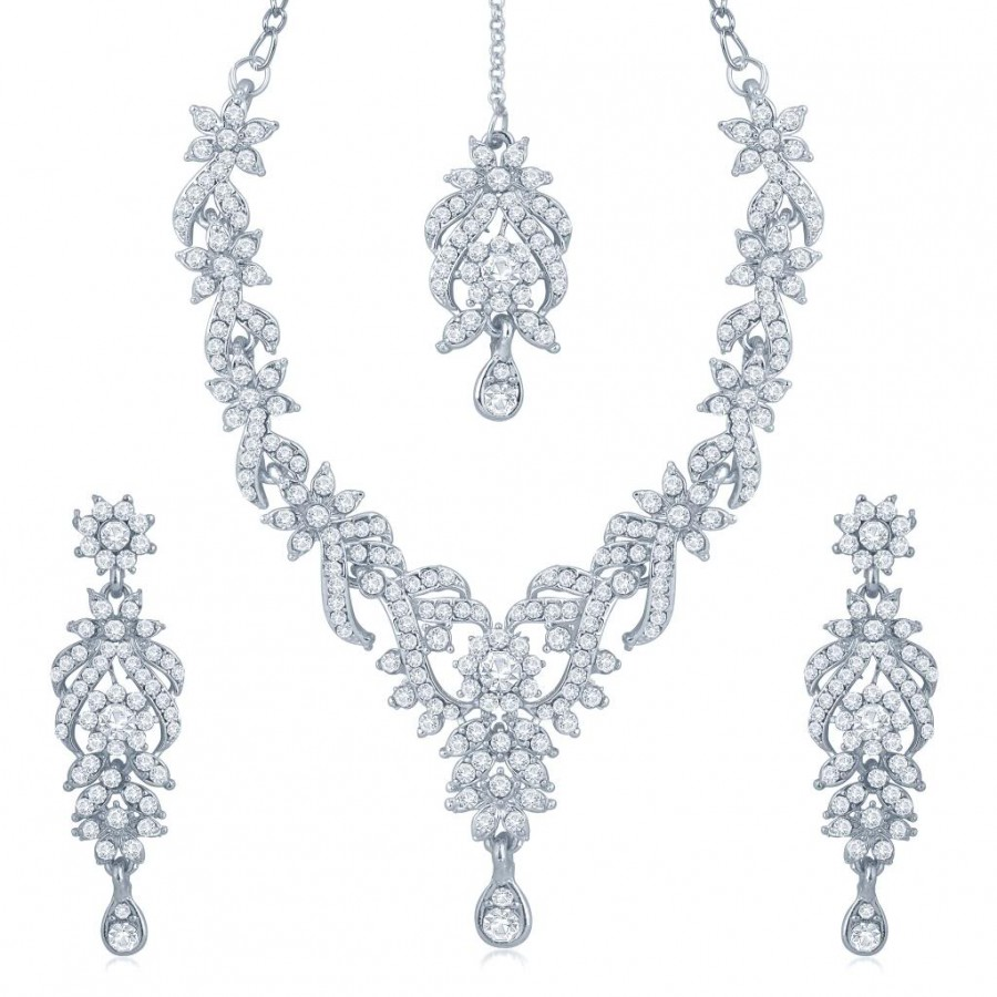 Buy Sukkhi Attractive Rhodium Plated Australian Diamond Stone Studded Necklace Set Online