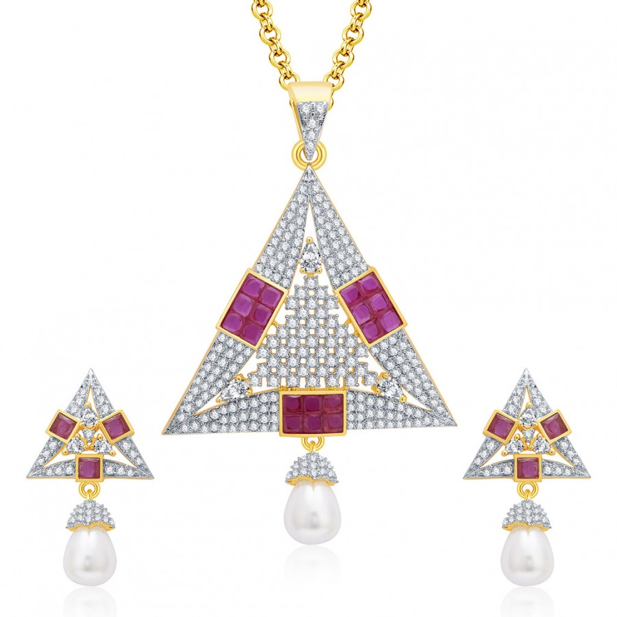 Buy Pissara Fiery Gold And Rhodium Plated Ruby CZ Pendant Set For Women Online