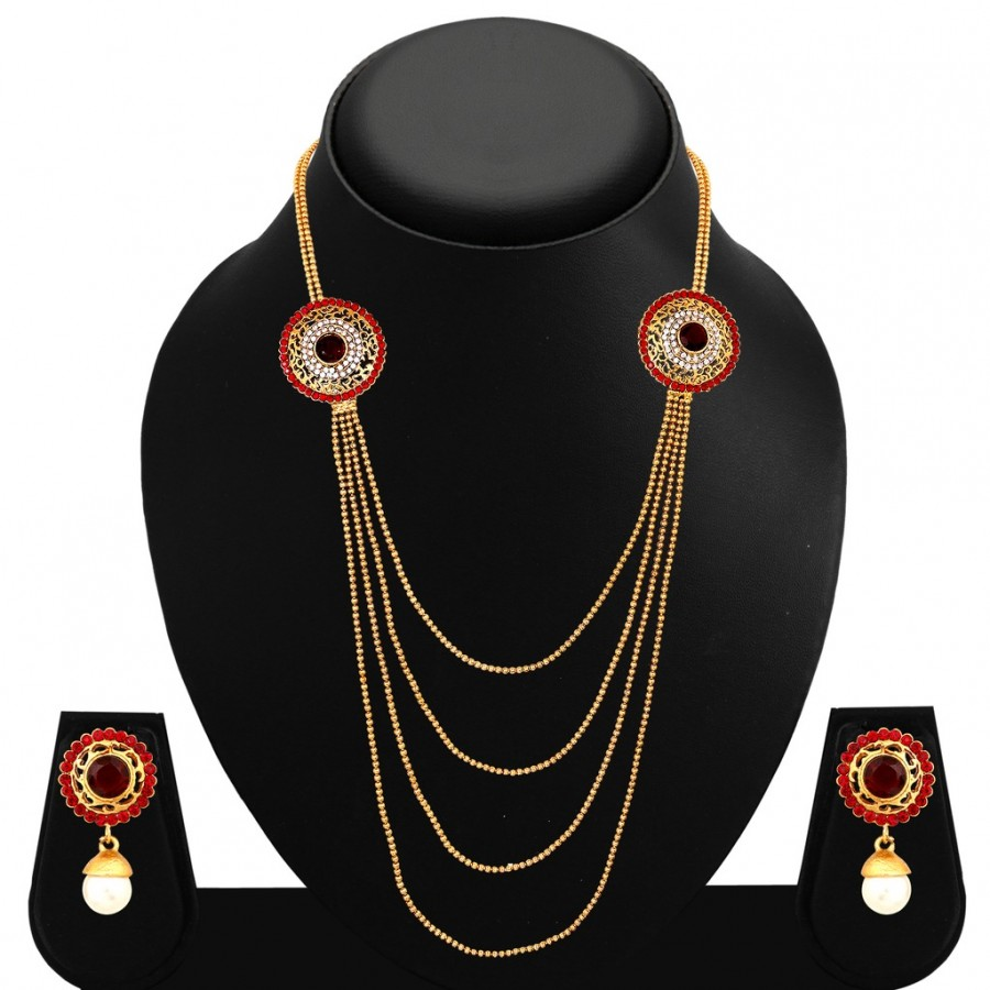 Buy Sukkhi Gleaming Four Strings Gold Plated AD Necklace Set For Women Online