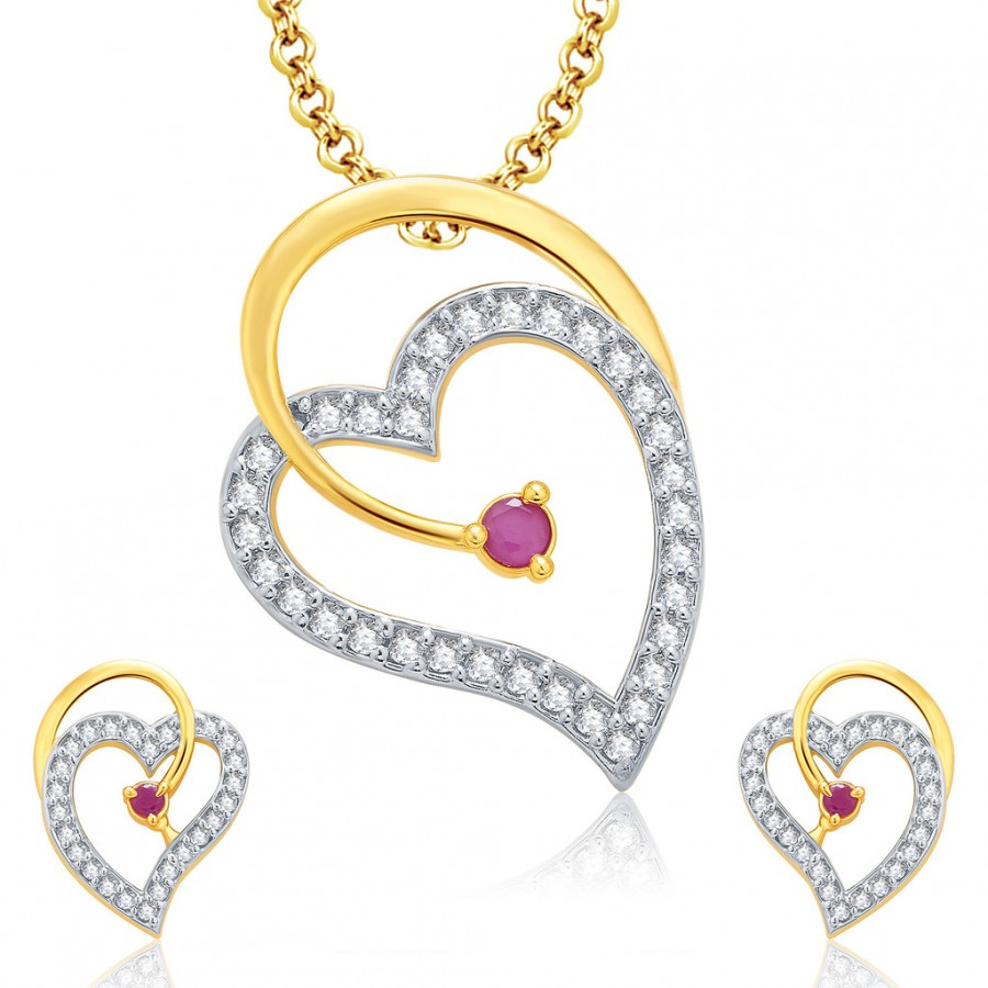 Buy Pissara Sophisticated Gold And Rhodium Plated Ruby CZ Pendant Set For Women Online